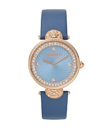 Versus Women's Light Blue Leather Strap Watch 18mm