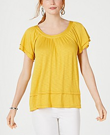 Tiered Flutter-Sleeve Top, Created for Macy's