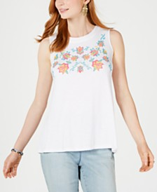 Style & Co Embroidered Keyhole Top, Created for Macy's
