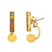 Steve Madden Women's Multi-Color Bar and Ball Gold-Tone Front and Back Earrings