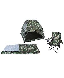 Pacific Play Tents Green Camo Set - Tent, Chair & Sleeping Bag