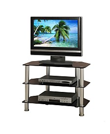 Metal And Glass TV Stand with 3 Shelves