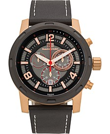 Baracchi Men's Chronograph Watch Black Leather Strap, White Stitching, Black/Grey Dial, Rose Gold Case, 46mm