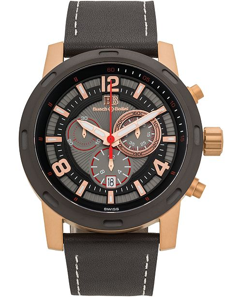Buech & Boilat Baracchi Men's Chronograph Watch Black Leather Strap, White Stitching, Black/Grey Dial, Rose Gold Case, 46mm