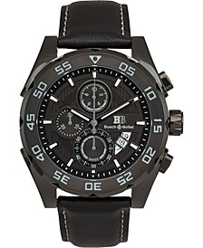 Torrent Men's Chronograph Watch Black Leather Strap, Black Dial, 44mm