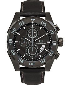 Buech & Boilat Torrent Men's Chronograph Watch Black Leather Strap, Black Dial, 44mm