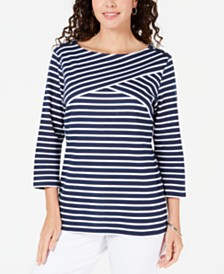 Karen Scott Striped Crossover Top, Created for Macy's
