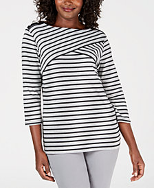 Karen Scott Plus Size Abstract Stripe Top, Created for Macy's
