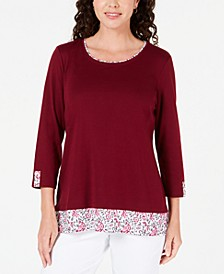 Printed-Hem 3/4-Sleeve Top, Created for Macy's