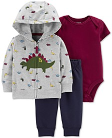 Baby Boys 3-Pc. Dinosaur Hoodie, Bodysuit & Jogger Pants Cotton Set