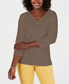 Karen Scott Eyelet-Trim Top, Created for Macy's