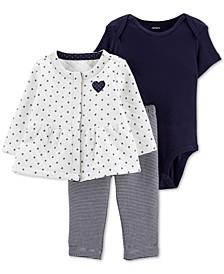 Baby Girls 3-Pc. Jacket, Bodysuit & Leggings Set
