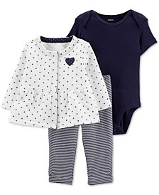 Carter's Baby Girls 3-Pc. Jacket, Bodysuit & Leggings Set