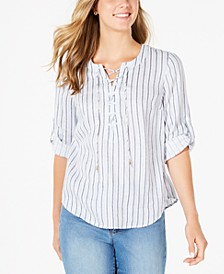 Printed Linen Roll-Tab-Sleeve Top, Created for Macy's