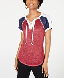 Crave Fame Juniors' Lace-Up Raglan T-Shirt