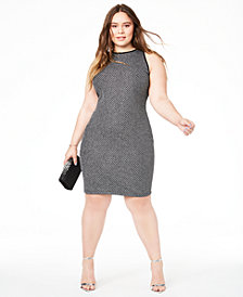 B Darlin Trendy Plus Size Metallic Bodycon Dress, Created for Macy's