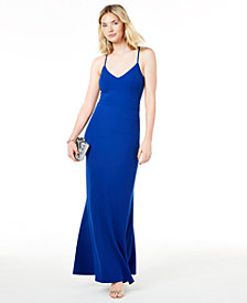 B Darlin Juniors' Lace-Back Gown
