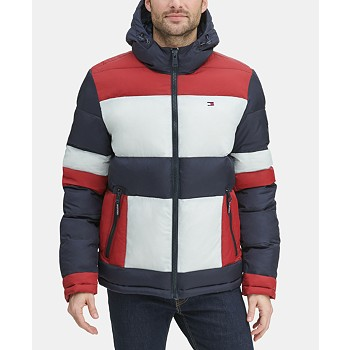 Tommy Hilfiger Men's Colorblocked Hooded Puffer Coat