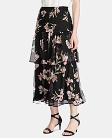 Petite Floral-Print Tiered Georgette Peasant Skirt