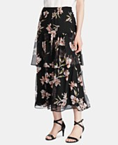 b1a7cb3464 Lauren Ralph Lauren Petite Floral-Print Tiered Georgette Peasant Skirt
