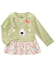 First Impressions Baby Girls Cotton Long-Sleeve Bear Tunic, Created for Macy's