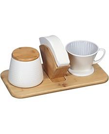 64135 Artisan Textured Porcelain Pour-OverCone, White