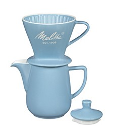 64122 Porcelain Pour-Over Carafe Set with Cone Brewer and Carafe, Pastel Blue