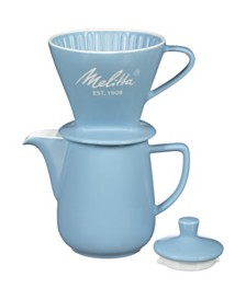 Melitta 64122 Porcelain Pour-Over Carafe Set with Cone Brewer and Carafe, Pastel Blue