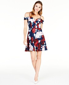 City Studios Juniors' Off-The-Shoulder Floral Dress, Created for Macy's