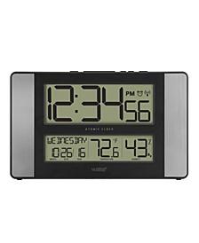 Atomic Digital Clock with Indoor Temperature and Humidity, Aluminum finish