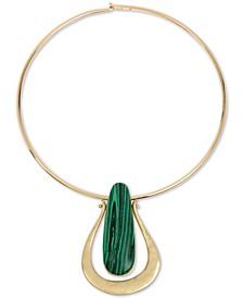 "Gold-Tone Stone Sculptural Pendant 17"" Wire Collar Necklace"