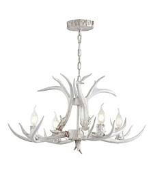 "Eldora 26"" Adjustable Resin Antler 4-Light LED Chandelier"