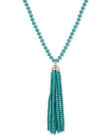 "Anne Klein Gold-Tone Beaded Tassel 42"" Pendant Necklace"