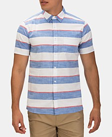 Men's Blocked Stripe Button-Down Shirt