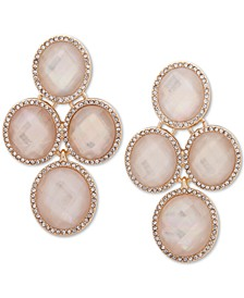 Gold-Tone Pavé & Oval Stone Clip-On Chandelier Earrings