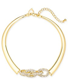 """Gold-Tone Pavé Link Choker Necklace, 13"""" + 3 """" extender, Created for Macy's"""