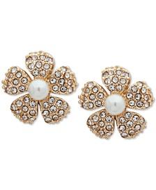 Gold-Tone Pavé & Imitation Pearl Flower Clip-On Button Earrings