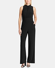 Mock-Neck Sleeveless Jersey Jumpsuit