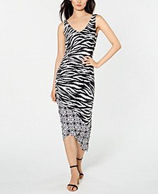 INC Zebra-Print Ruched Midi Dress, Created for Macy's