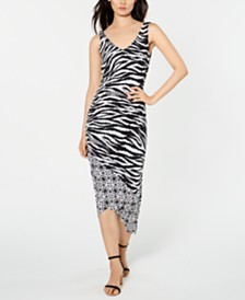 I.N.C. Zebra-Print Ruched Midi Dress, Created for Macy's