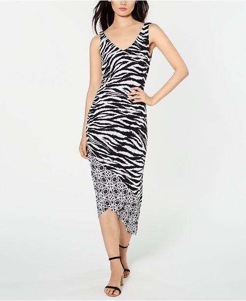 INC International Concepts I.N.C. Zebra-Print Ruched Midi Dress, Created for Macy's