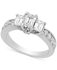 Diamond Three-Stone Engagement Ring (2 ct. t.w.) in 14k White Gold