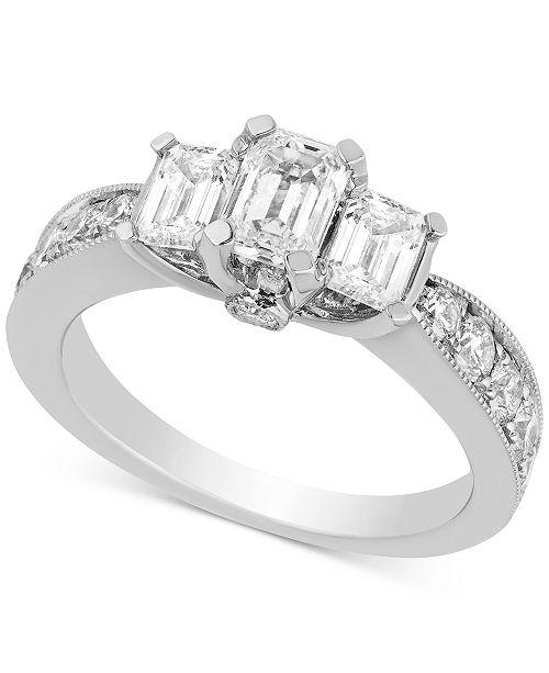 Macy's Diamond Three-Stone Engagement Ring (2 ct. t.w.) in 14k White Gold