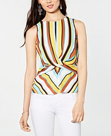 INC Striped Twist-Front Top, Created for Macy's