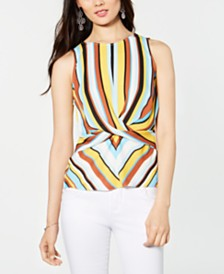 I.N.C. Striped Twist-Front Top, Created for Macy's