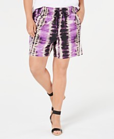 I.N.C. Plus Size Tie-Dyed Shorts, Created for Macy's
