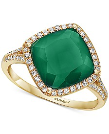 EFFY® Green Onyx (10mm) & Diamond (1/4 ct. t.w.) Statement Ring in 14k Gold