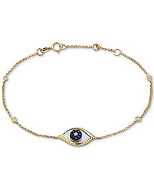 EFFY® Mother-of-Pearl, Sapphire (1/10 ct. t.w.) & Diamond Accent Link Bracelet in 14k Gold