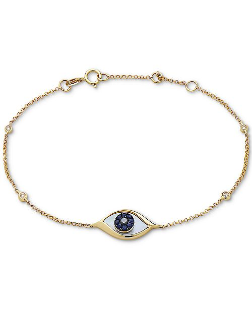 EFFY Collection EFFY® Mother-of-Pearl, Sapphire (1/10 ct. t.w.) & Diamond Accent Link Bracelet in 14k Gold
