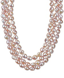 "Baroque Cultured Pink Freshwater Pearl (11-12mm) Three-Strand 16"" Collar Necklace (Also in Baroque Cultured White Freshwater Pearl )"